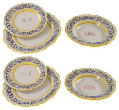 2 - Plate sets ( 6pcs ) decoration Ricco Blu