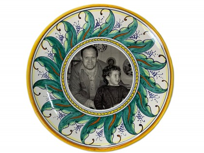 Plate 35 cm HAND PAINTED with photo