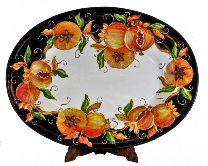 Oval platter HAND PAINTED - Pomegranate