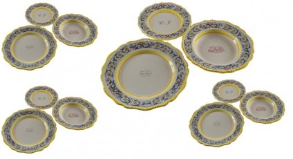 4 - Plate sets ( 12pcs ) decoration ricco blu  PERSONALIZED